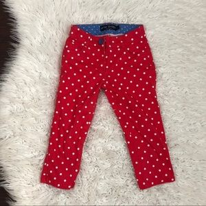 Mini Boden Red Polka Cropped Pants 6